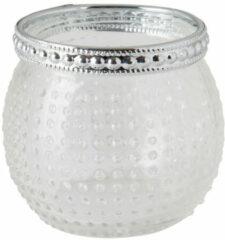 Xenos Theelichthouder stip - zilver/transparant - 6x6 cm