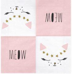 PARTYDECO - 20 papieren witte kat servetten - Decoratie > Papieren servetten