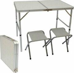 Zilveren AMANKA Kampeertafel 90x60x70 cm incl. 2 klapstoelen Kampeertafelset Etui in de maat lichtgrijs Opvouwbaar