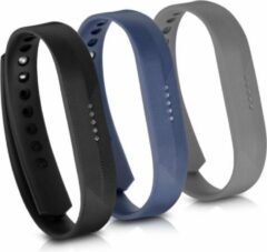 Kwmobile horlogeband voor Fitbit Flex 2 - 3x siliconen bandje in zwart / donkerblauw / antraciet - Voor fitnesstracker