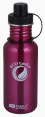 Ecotanka Drinkfles Mini Tanka 600 Ml Rvs Roze/zwart