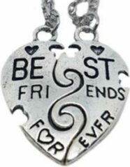 Zoëies® bff ketting 2-delig zilverkleurig best friends for ever