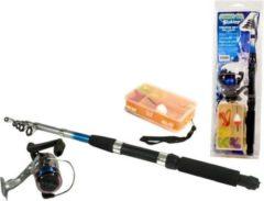 Zwarte GAME ON FISHING Gof Telescopische Werphengel - Hengelset - 210 cm - Inc. Accessoires