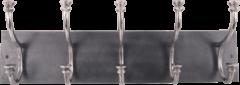 Collectione Landelijke Kapstok Lesina Rechthoek 71 cm Lood Met Ruw Nickel 5 Haaks