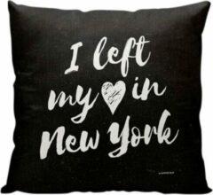 Witte Meenemen Op Reis I Left My Heart In NY - Sierkussen - 40 x 40 cm - Reis Quote - New York City - Reizen / Vakantie - Reisliefhebbers - Voor op de bank/bed