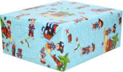 Shoppartners 3x Inpakpapier kinderverjaardag blauw met piraten thema 200 x 70 - cadeaupapier