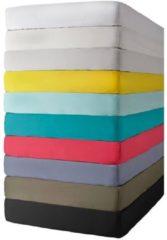 Essenza Premium percale katoen hoeslaken extra hoog - 100% percale katoen - 1-persoons (90x200 cm) - Grijs, Steel grey