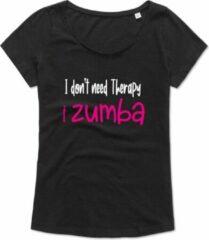 Zwarte Kemtees Zumba T-shirt - Workout T-shirt - Dance T-shirt, dans t-shirt, sport t-shirt, Gym T-shirt, Lifestyle T-shirt - I Don't need therapy, I zumba – S