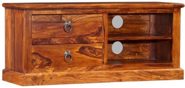 Afbeelding van Bruine VidaXL Tv-meubel 90x30x40 cm massief sheesham hout