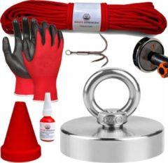 Brute Strength Vismagneet set - 250KG - 30m touw - Handschoenen - Dreghaak - Prikstok adapter - Beschermkap - Magneetvissen starterspakket - Schroefborgmiddel (10 ml)