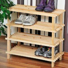 Decopatent FSC® houten Schoenenrek - 12 Paar Schoenenkast - Afm. 54 x 26 x 52 Cm. - bruin