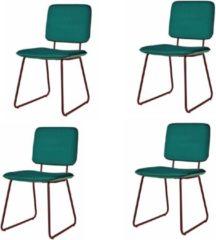 Donkergroene DS4U® whap eetkamerstoel - velvet - schoolstoel - velours - stof - groen - set van 4