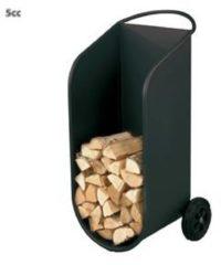 Zwarte Heibi houtbak/houtwagen 103 cm zwart