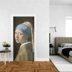 Blauwe Wallstation Deursticker Meisje met de Parel - 100 x 250 cm - Gratis installatie-kit - Snelle levering