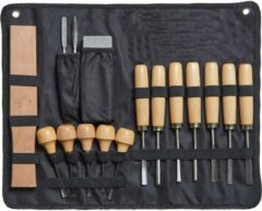 Grijze Rieno Houtbewerking gereedschap - beitelset - 16 delige houtsnijset - handig op te bergen - houtsnijden