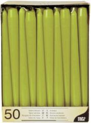 Conpax Candles 50x stuks Voordeelverpakking dinerkaarsen olijf groen - 25 cm - 7 branduren