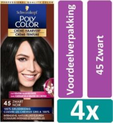Schwarzkopf Poly Color 45 Zwart Haarverf 4 stuks Voordeelverpakking