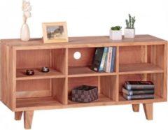 Wohnling Lowboard MUMBAI Massivholz Akazie Kommode 118cm TV-Board 6 Fächer Landhaus-Stil dunkel-braun Unterschrank TV-Möbel