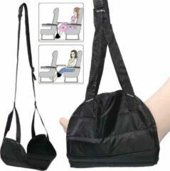Zwarte LOUZIR Voetensteun voor op reis | Vliegtuig voetensteun | Verstelbaar | Reis voetenkussen | Draagbare vliegtuigbedje | Voetsteun | Voetkussen | Reisaccessoire | Ontspanning | Comfortabel | Voeten hangmat voor reizen