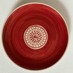Bunzlau diner bord rood met roosjes