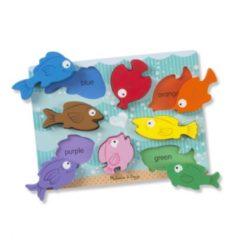 Melissa & Doug vormenpuzzel Chunky Colourful Fish junior hout 8 stukjes