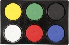 Creativ company Waterverf in palet, d: 44 mm, h: 16 mm, primaire kleuren, 6stuks