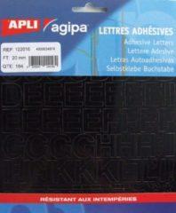 Zwarte Agipa etiketten cijfers en letters letterhoogte 20 mm, 184 letters