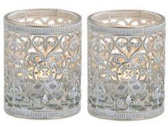 Merkloos / Sans marque 2x Waxinelicht/theelicht houders zilver antiek 7 cm - Woonaccessoires/woondecoraties kaarsenhouders