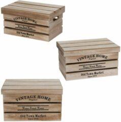 Beige Merkloos / Sans marque 3x Houten opbergkisten met deksel 30cm/36cm/42cm - Woondecoratie/accessoires - Opbergers - Fruitkisten - Speelgoedkisten - Opbergkisten van hout