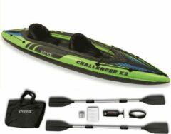 Groene Intex Challenger K2 Kayak - Opblaasboot - 2-Persoons - 351 x 76 x 38 cm