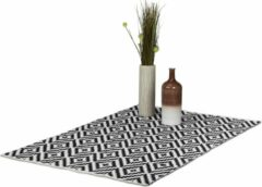 Relaxdays vloerkleed katoen - antislip kleed - zwart-wit - woonkamer tapijt - 3 groottes 120x180cm