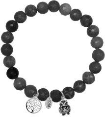 Zilveren CO88 Collection 8CB-90012 - Armband met bedels - natuursteen en staal - Jade 8 mm - levensboom en uil - one-size - zwart / grijs / zilverkleurig