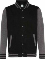 Awdis Unisex Varsity Jacket (Straalzwart/houtskool)