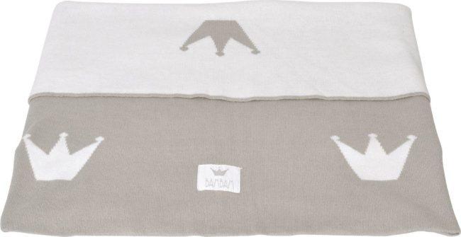 Afbeelding van Zandkleurige BamBam Kroon - Dekentje 100% katoen - Wit