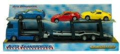 2-Play autotransporter diecast met 3 auto's 26 cm multicolor
