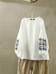 Newchic Vintage Embroidery Long Sleeve Plus Size Blouse