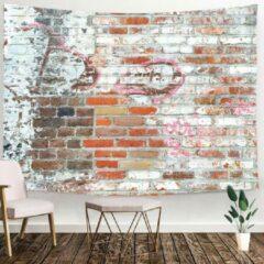 Roze Ulticool - Muur Stenen Industrieel - Wandkleed - 200x150 cm - Groot wandtapijt - Poster