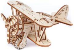 Craenen/Wooden City Wooden City modelbouwpakket Vliegtuig Dubbeldekker hout - 88mm hoog x 232mm breed x 140mm diep - naturel kleur