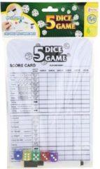 Toi Toys BV Dobbelspel met scorekaart (whiteboard) + 5x dobbelsteen - dobbelstenen - yahtzee - dobbelsteenset