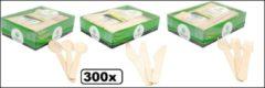 Bruine Thema party 300x Houten messen/vorken/lepels duurzaam hout