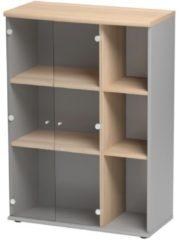 Gamillo Furniture Boekenkast Jazz van 114 cm hoog in beuken met licht grijs