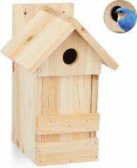 Relaxdays nestkast vogels - vogelhuisje - houten vogelhuis - nestkastje - hangend - natuur