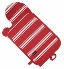 Rode Ovenhandschoen en pannenlap butcher stripe rood - ladelle