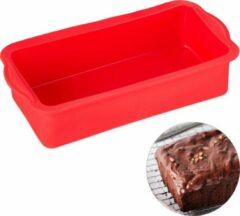 Relaxdays siliconen bakvorm - rechthoekig - cakevorm - taartvorm - broodvorm - rood