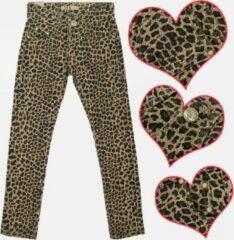 Merkloos / Sans marque Meisjesbroek jeans panterprint bruin maat 152/158