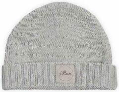 Licht-grijze Jollein Muts 9 tot 18 mnd Soft knit light grey