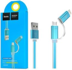 Hoco 2 in 1 universele snellaad en data kabel (blauw)