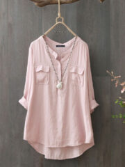 Newchic Casual Solid Color Long Sleeve Plus Size Cotton Shirt
