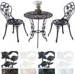 Bronze Clp Bistro tuinset GANESHA, tuinset in een antieke stijl, tafel met een diameter van 65 cm, gegoten aluminium - bronskleur