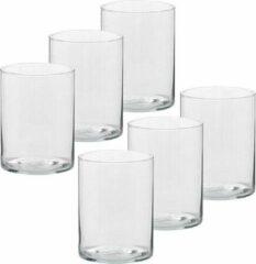 Transparante Trend Candles 6x Hoge theelichthouders/waxinelichthouders van glas 5,5 x 6,5 cm - Glazen kaarsenhouders - Woondecoraties